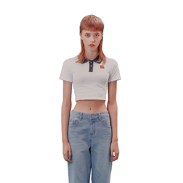 C CROP PK SHIRT_WHITE