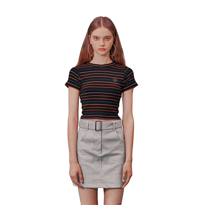 C STRIPE CROP T-SHIRT_BLACK