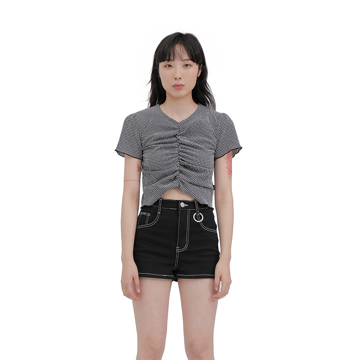 C CHECK SHIRRING TOP_GREY