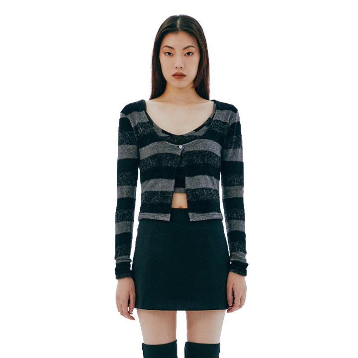 C STRIPE CARDIGAN SET TOP_BLACK