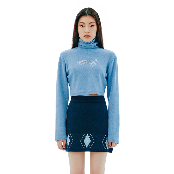 C LOGO HIGH NECK CROP TOP_SKY BLUE