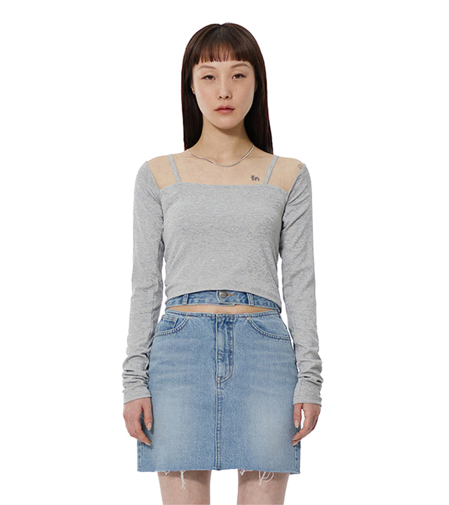 C STRING LAYERED T-SHIRT_GREY
