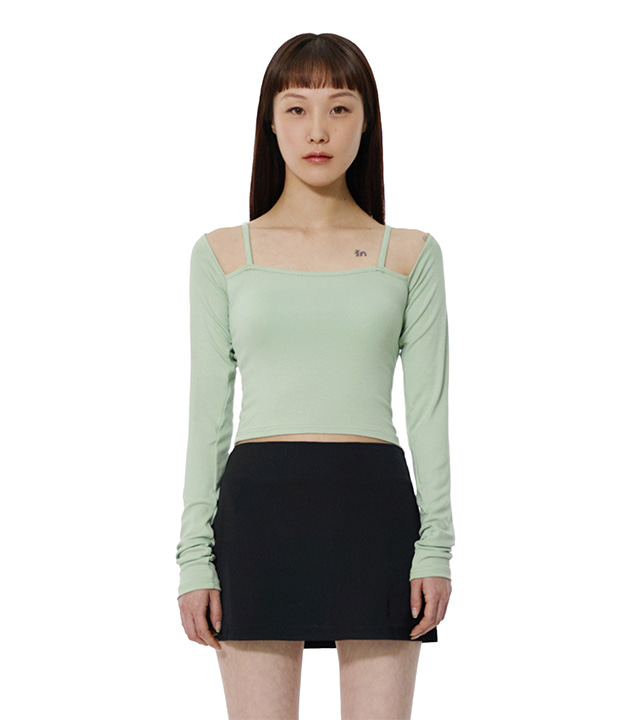 C STRING LAYERED T-SHIRT_EMERALD
