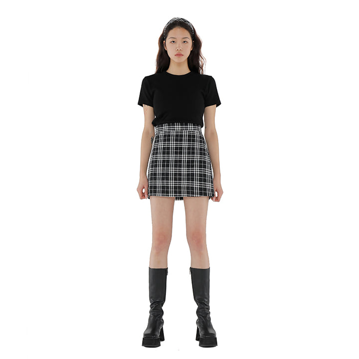 C GLITTER CHECK MINI SKIRT_BLACK